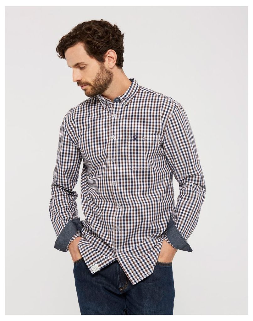 Midnight Gingham Hewney Classic Fit Shirt  Size XL | Joules UK