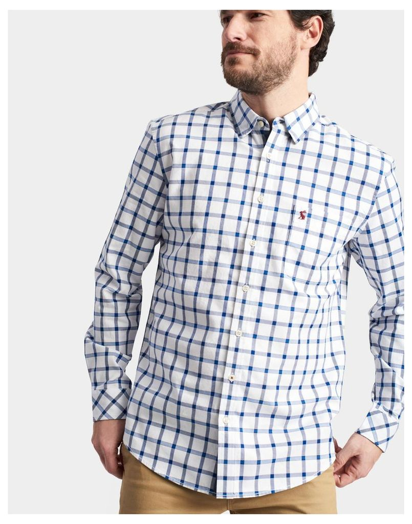 Blue Overcheck Wilby Classic Fit Shirt  Size M | Joules UK
