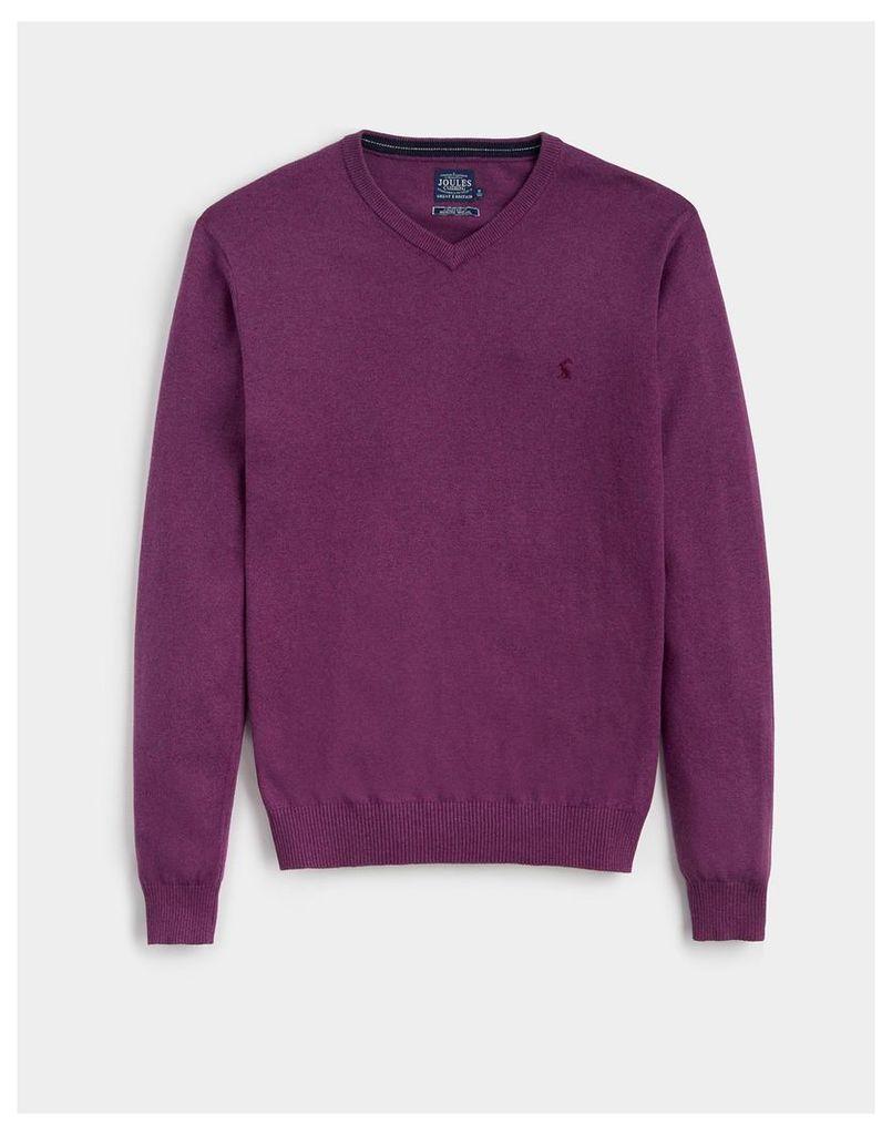 Purple Marl Retford V Neck Jumper  Size XXL | Joules UK