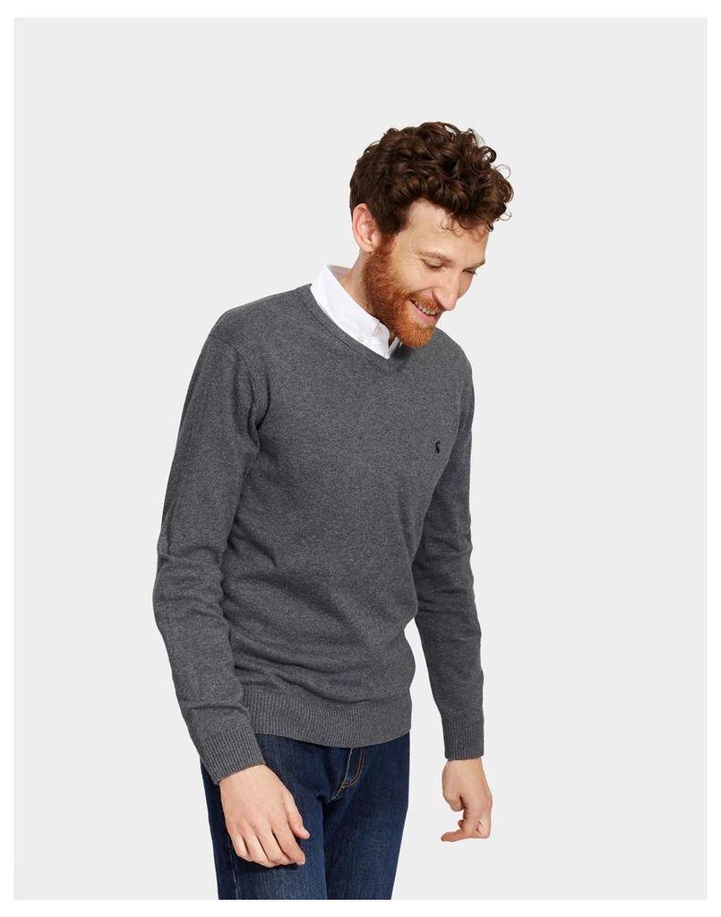 Grey Marl Retford V Neck Jumper  Size L | Joules UK