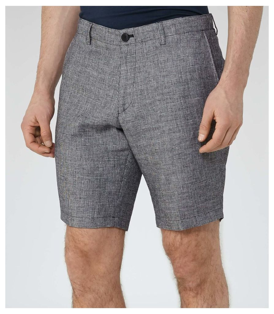 REISS Walford - Houndstooth Shorts in Grey, Mens