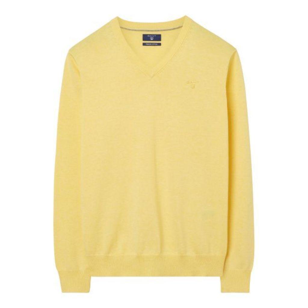 Lightweight Cotton V-neck Jumper - Pale Yellow Melange
