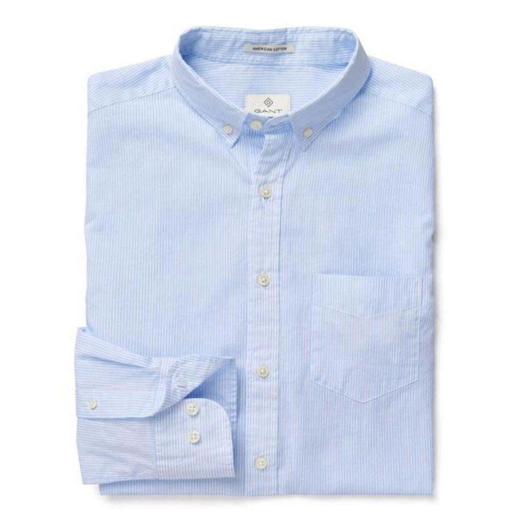 Cotton Linen Stripe Shirt - Crown Blue