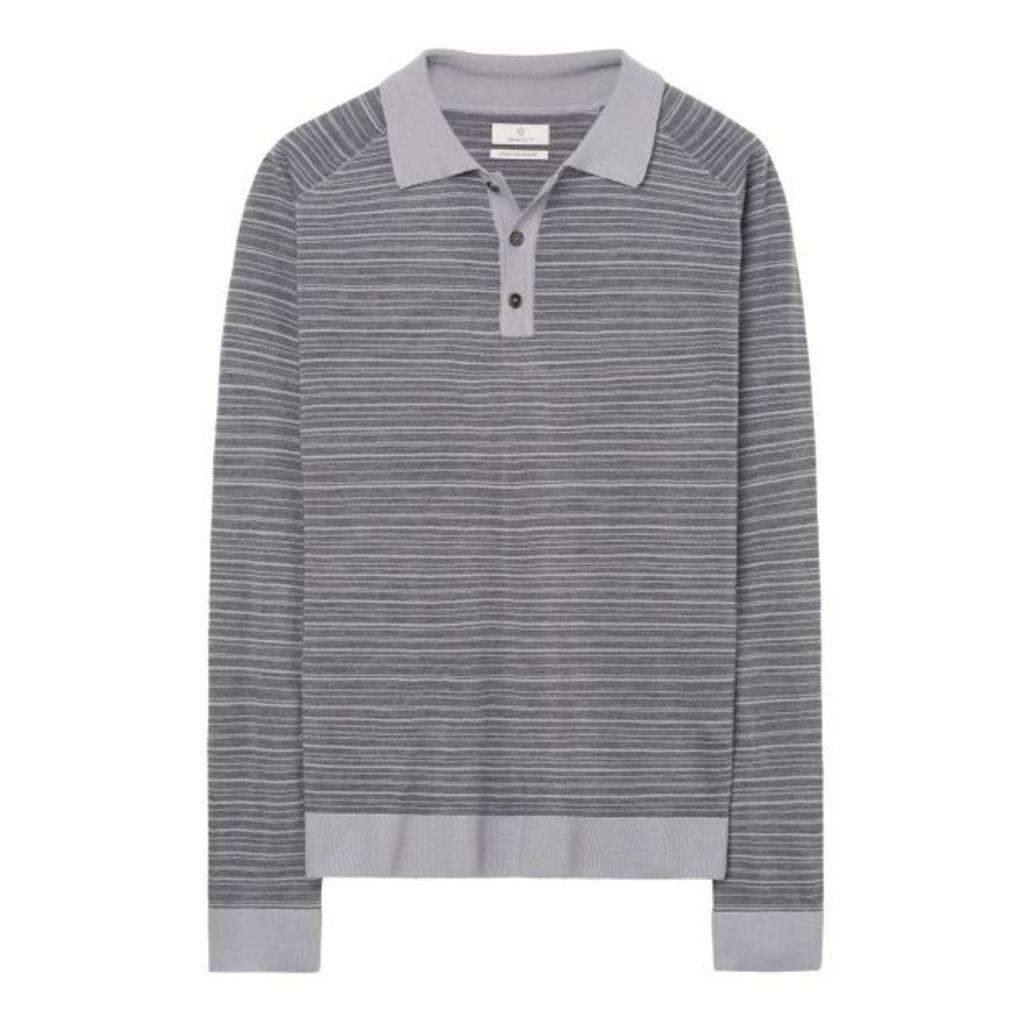 Extra Fine Merino Polo Shirt - Grey Melange