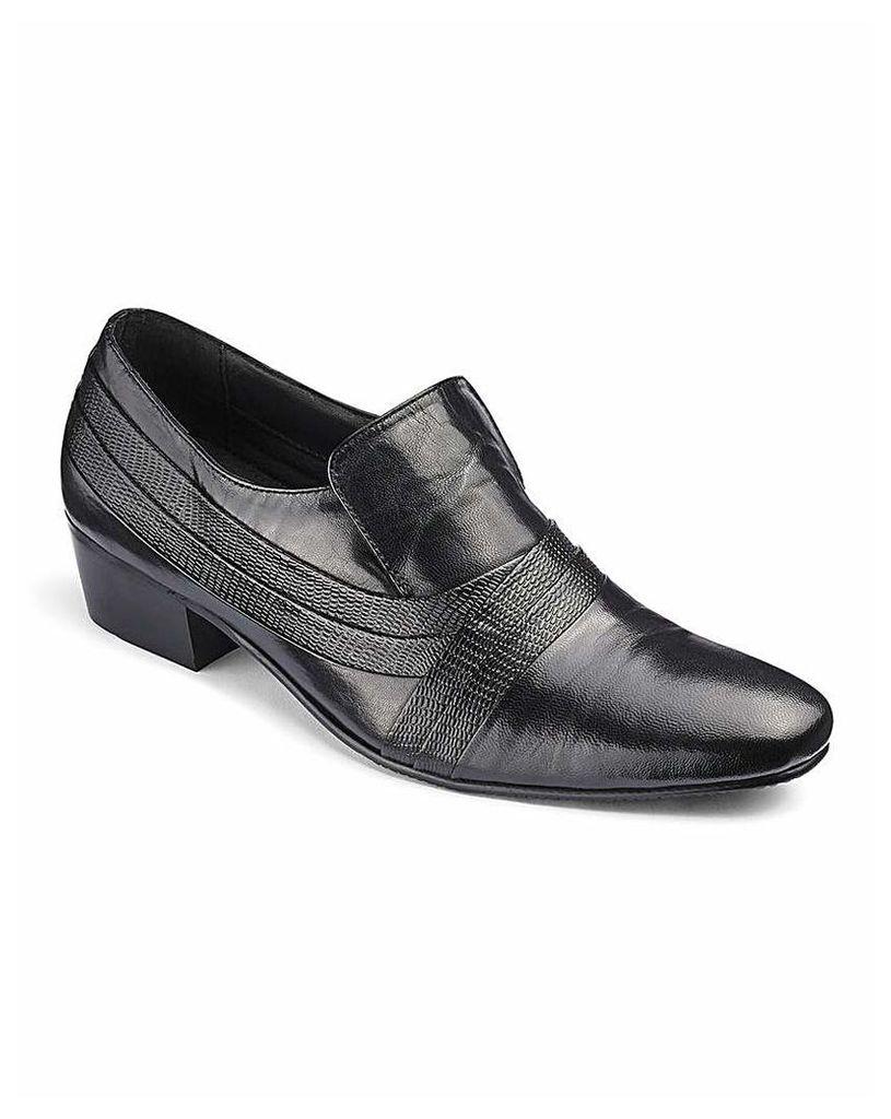 Leather Cuban Heel Slip On Shoe Wide Fit