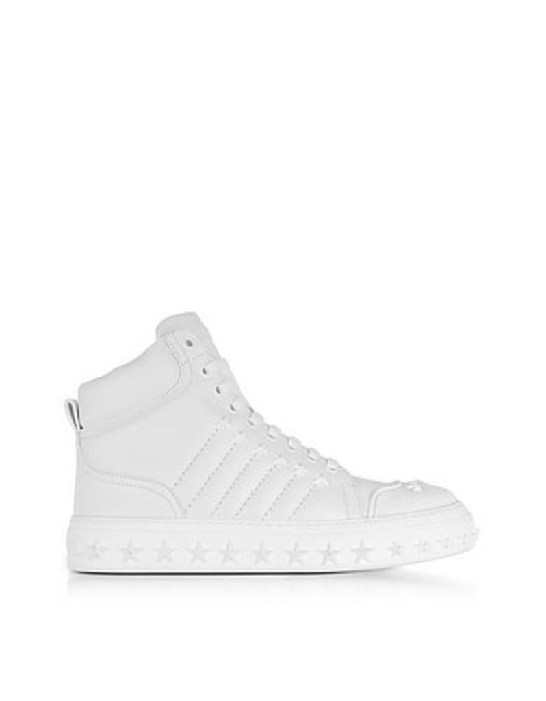 Jimmy Choo - Cassius Ulta White Leather High Top Sneakers w/Stars