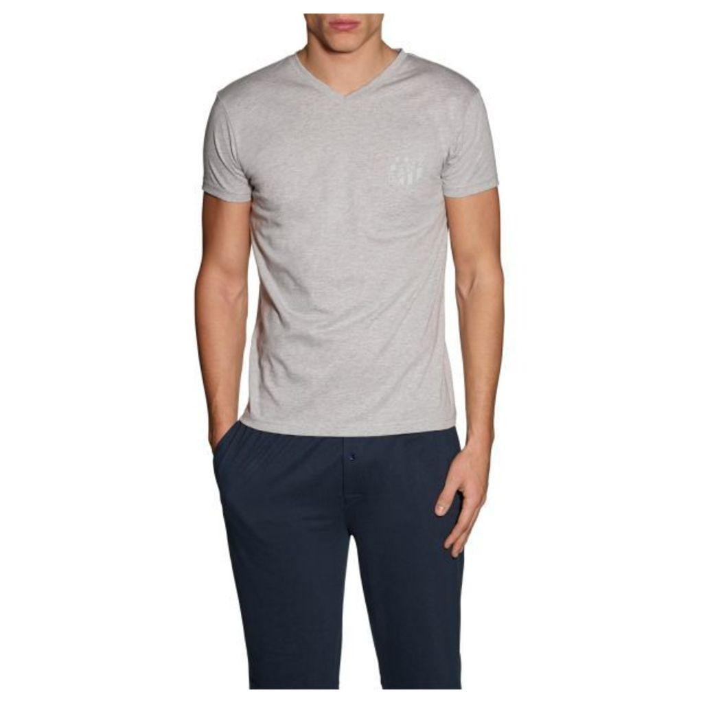 Jersey V-neck T-shirt - Light Grey Melange