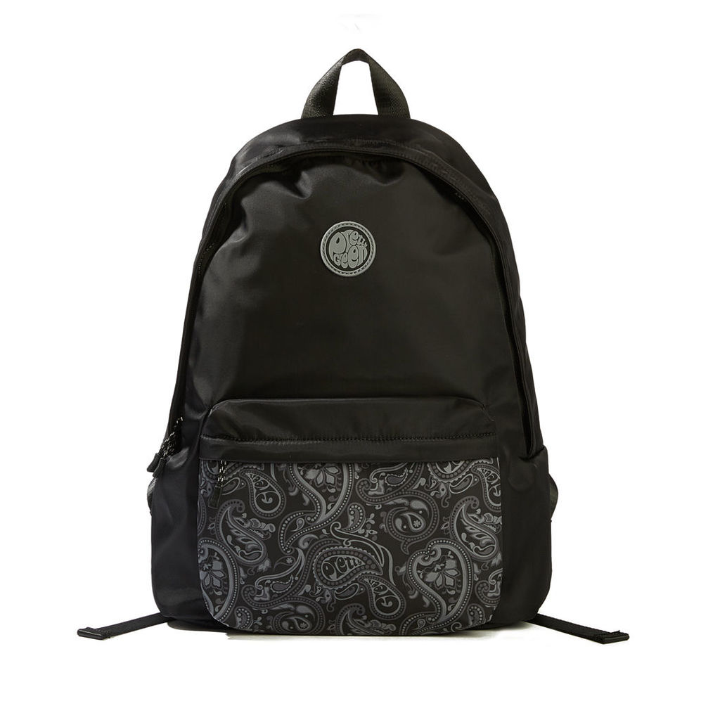 Pretty Green Men's Nylon Backpack With Paisley Pocket - Black - One Size