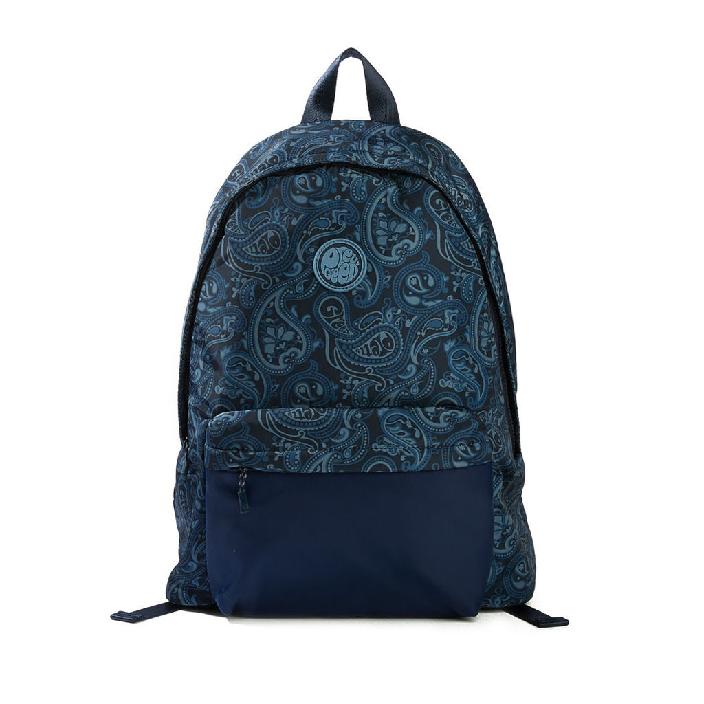 Pretty Green Men's Nylon Paisley Backpack With Plain Pocket - Navy - One Size