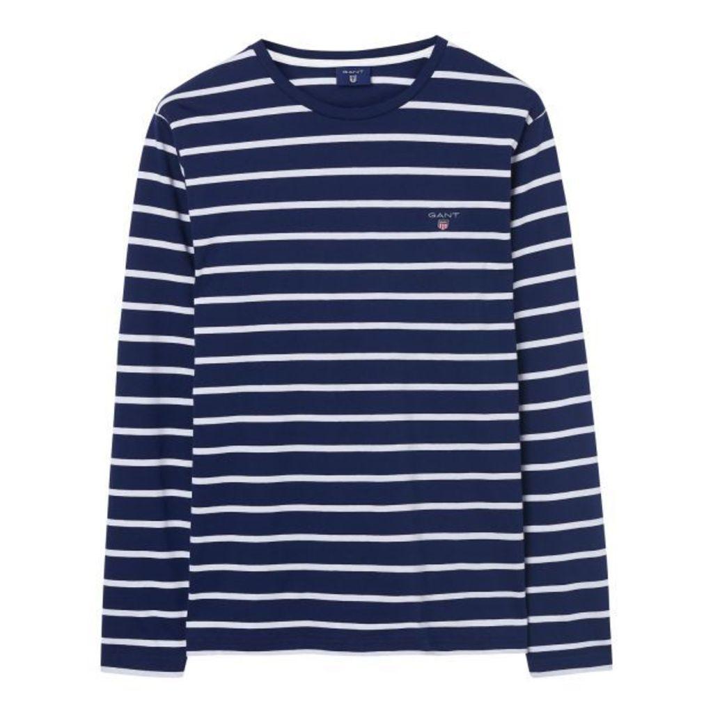Breton Stripe Long-sleeved T-shirt - Shadow Blue