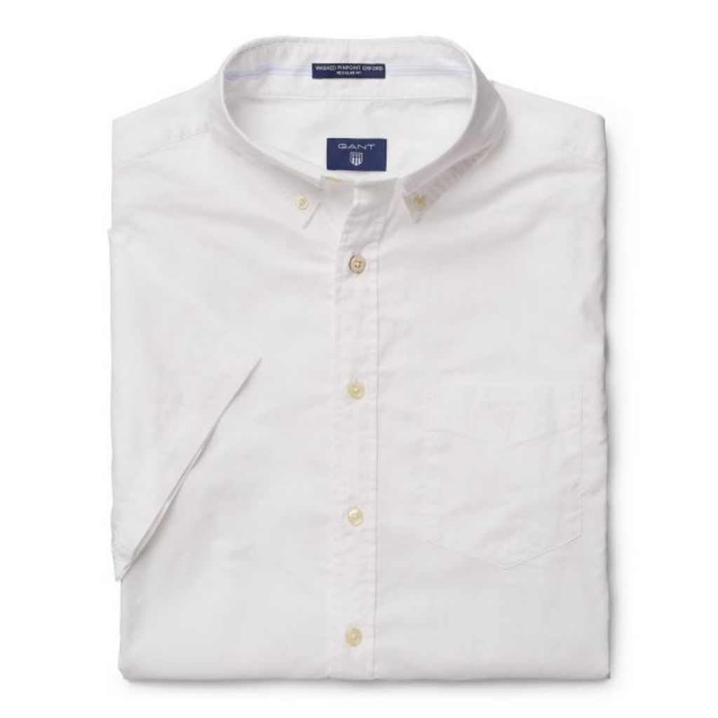 Short-sleeve Washed Pinpoint Oxford Shirt - White