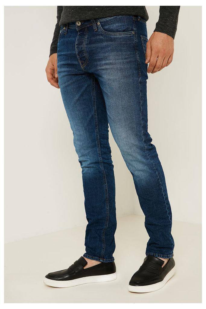 Jack & Jones Mike Distressed Jeans  - Blue