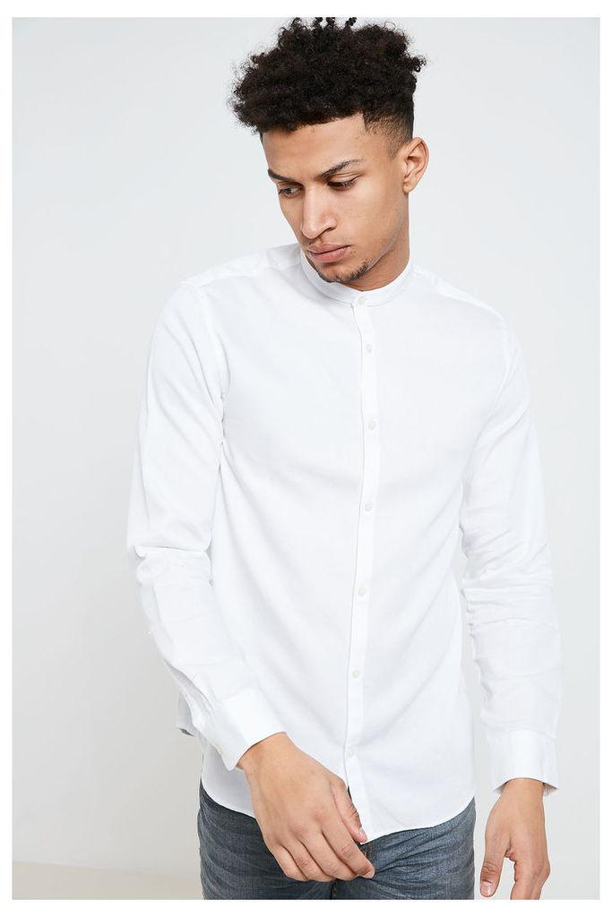 Jack & Jones Toby Grandad Collar Shirt - White