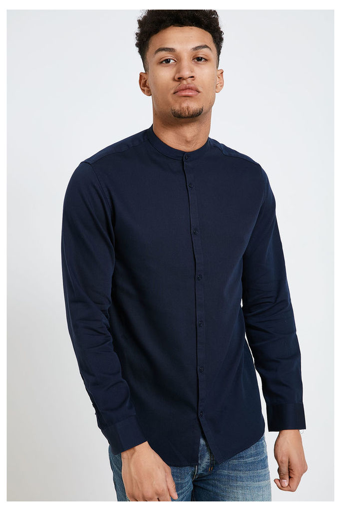 Jack & Jones Toby Grandad Collar Shirt - Navy