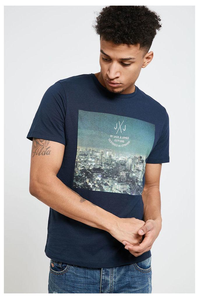 Jack & Jones Graphic Print T-Shirt - Navy