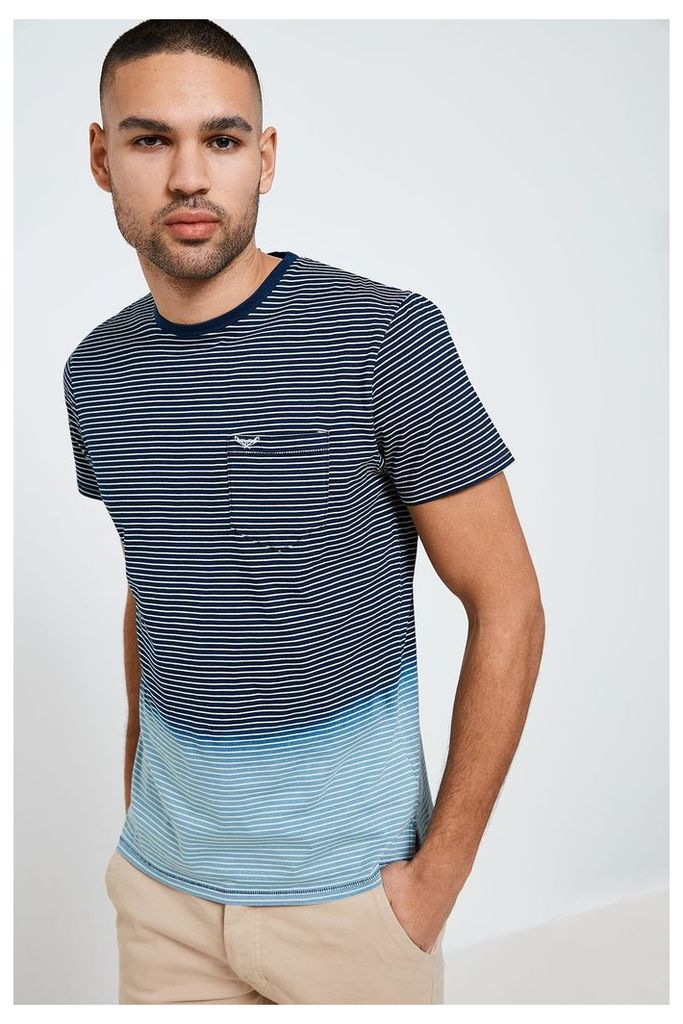 Threadbare Fortuna Ombre Striped T-Shirt - Blue