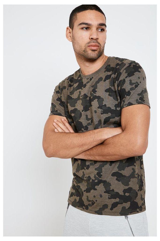 Threadbare Camo Print T-Shirt - Green