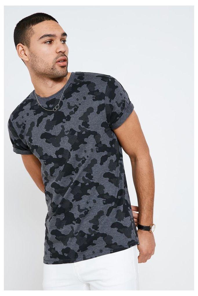 Threadbare Camo Print T-Shirt - Grey
