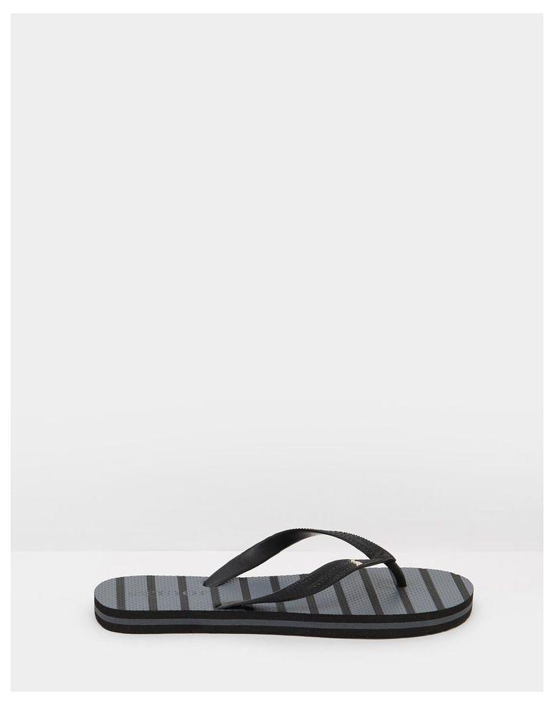 Coal Stripe Printed Flip Flops  Size Adult 10 | Joules UK