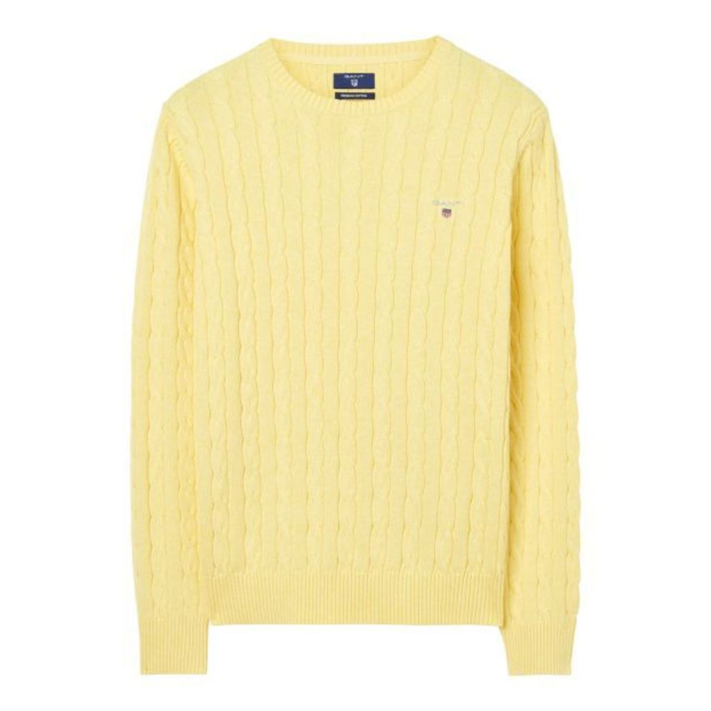 Cotton Cable Crewneck Jumper - Pale Yellow Melange