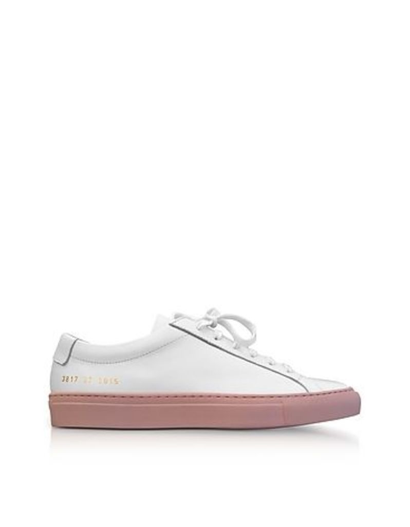 Common Projects - White Leather Achilles Low Top Men's Sneakers w/Blush Rubber Sole