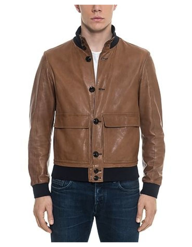 Forzieri - Brown Leather Men's Bomber Jacket