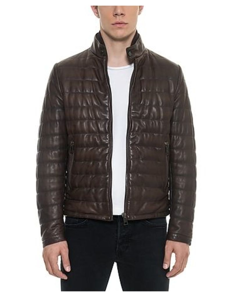 Forzieri - Dark Brown Quilted Leather Men's Jacket
