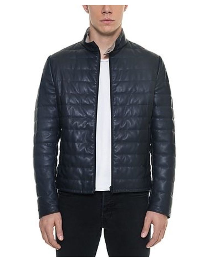 Forzieri - Dark Blue Quilted Leather Men's Jacket