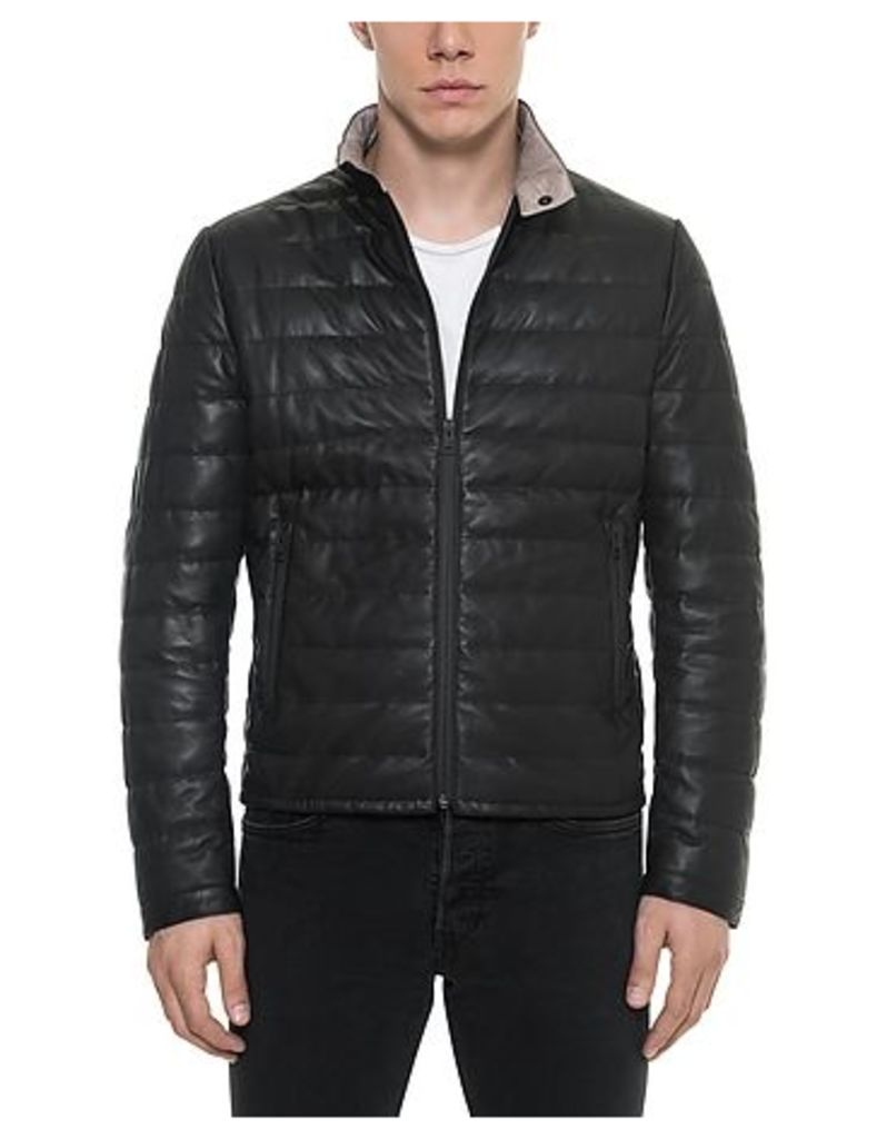 Forzieri - Black Quilted Leather Men's Jacket