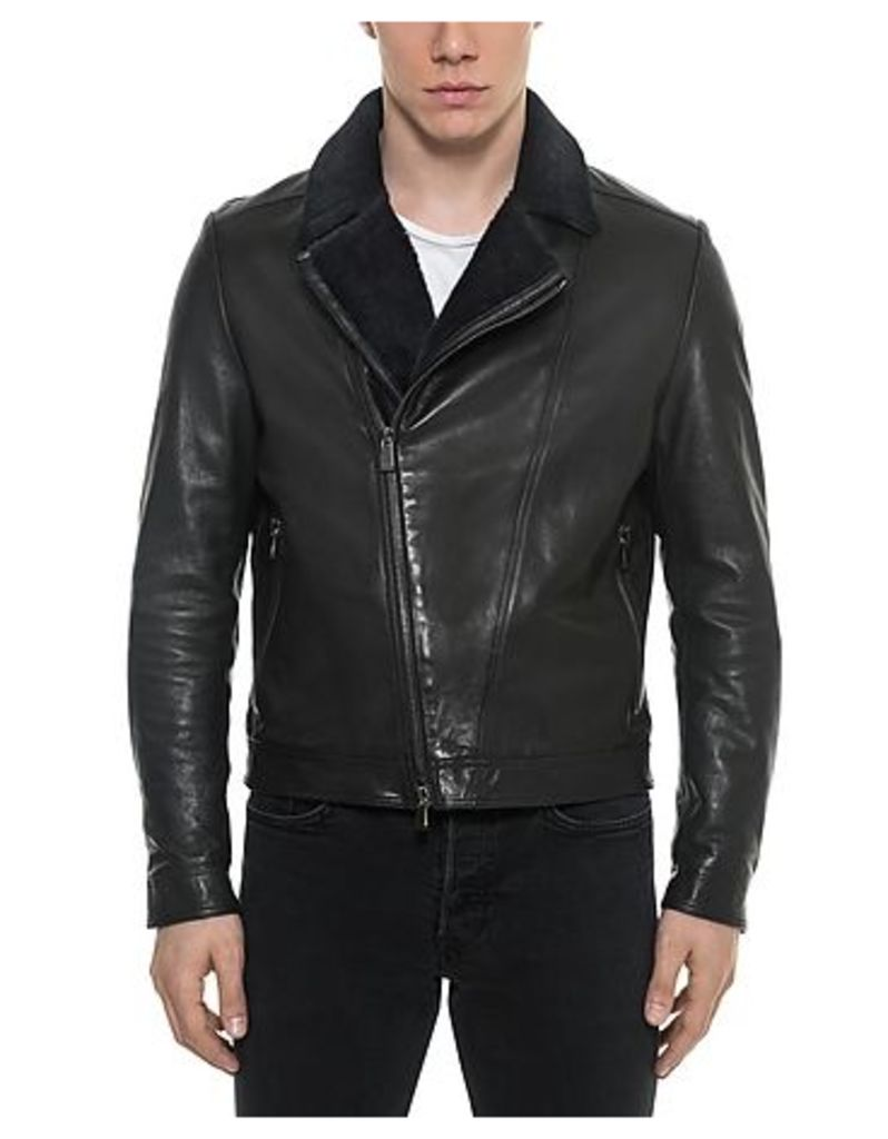 Forzieri - Black Padded Leather and Shearling Men's Biker Jacket