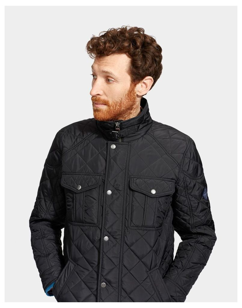Black Holmwood Quilted Jacket  Size L | Joules UK