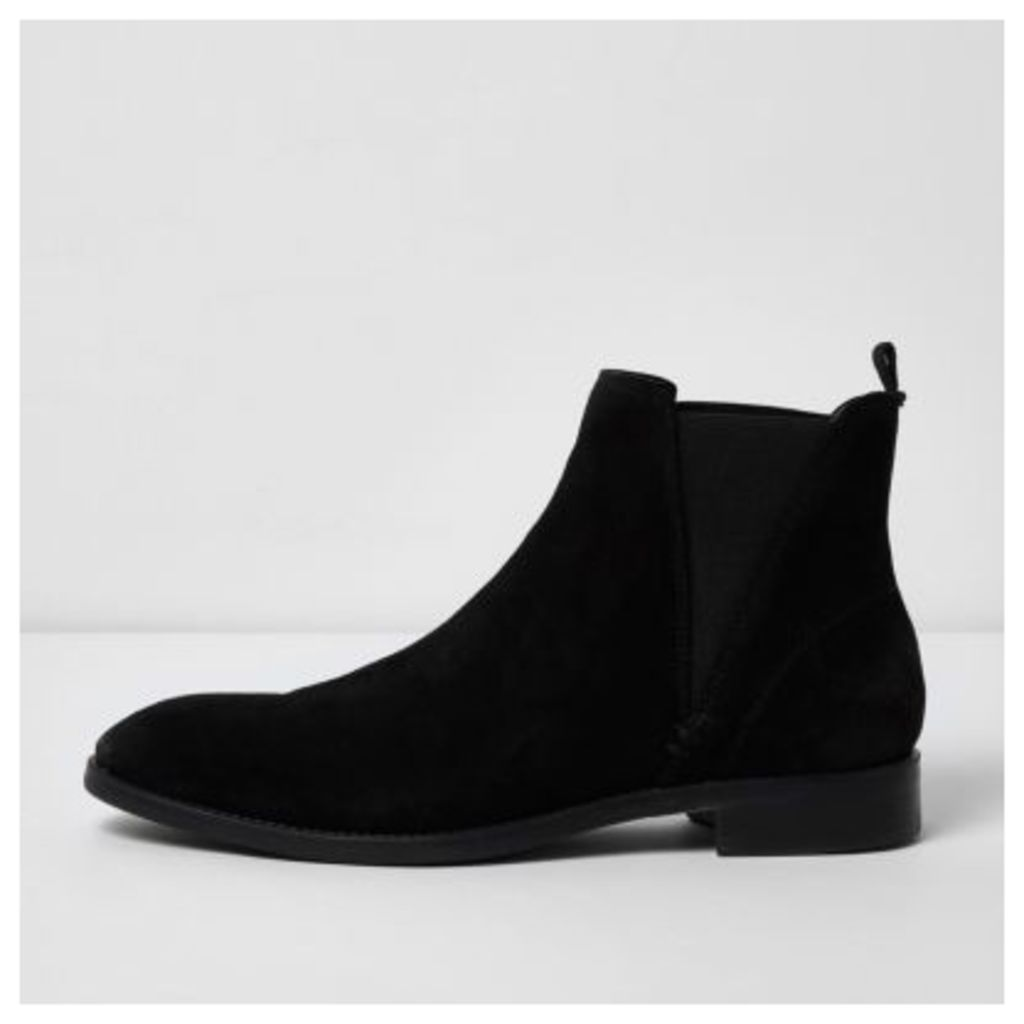 River Island Mens Black suede chelsea boots