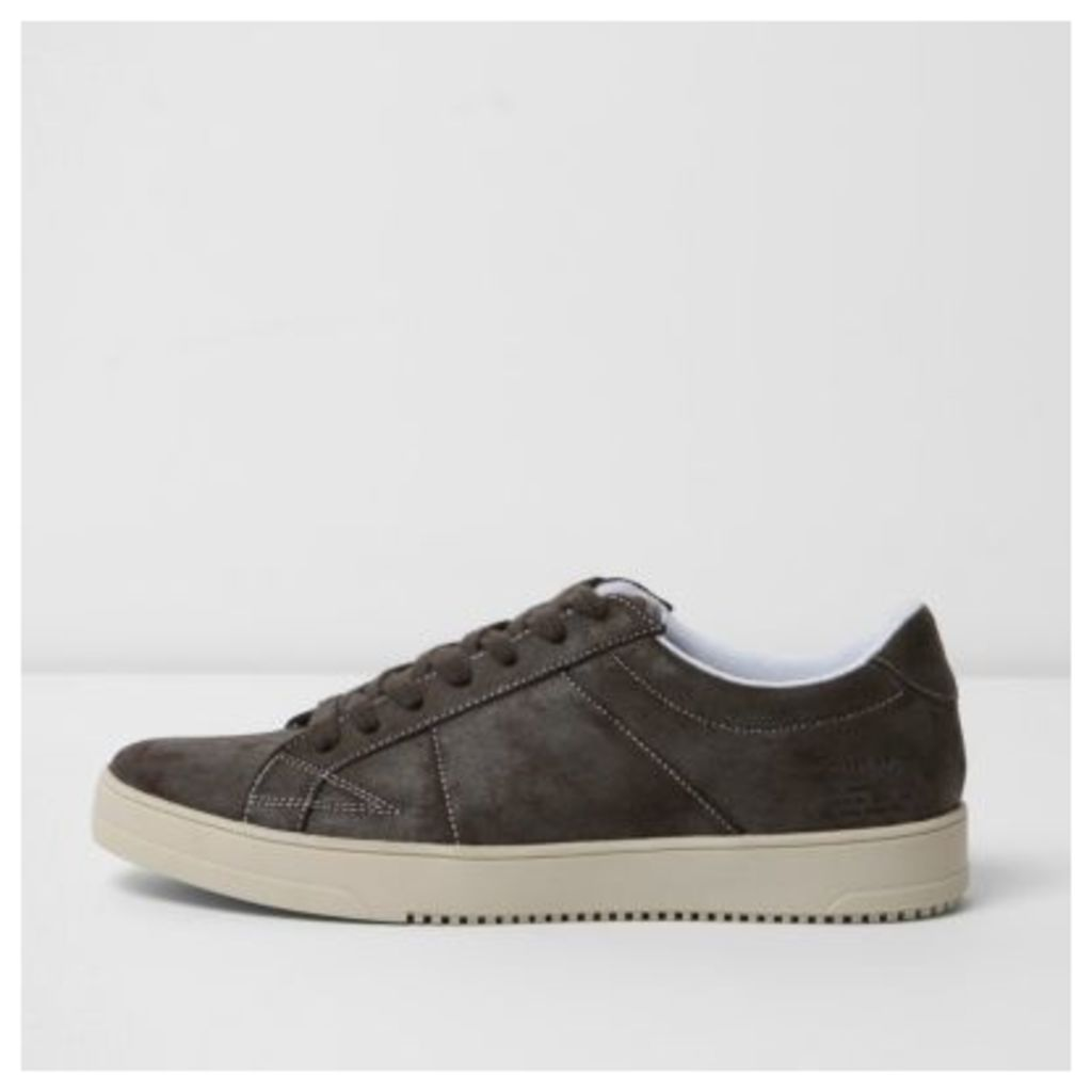 River Island Mens Grey lace-up trainers