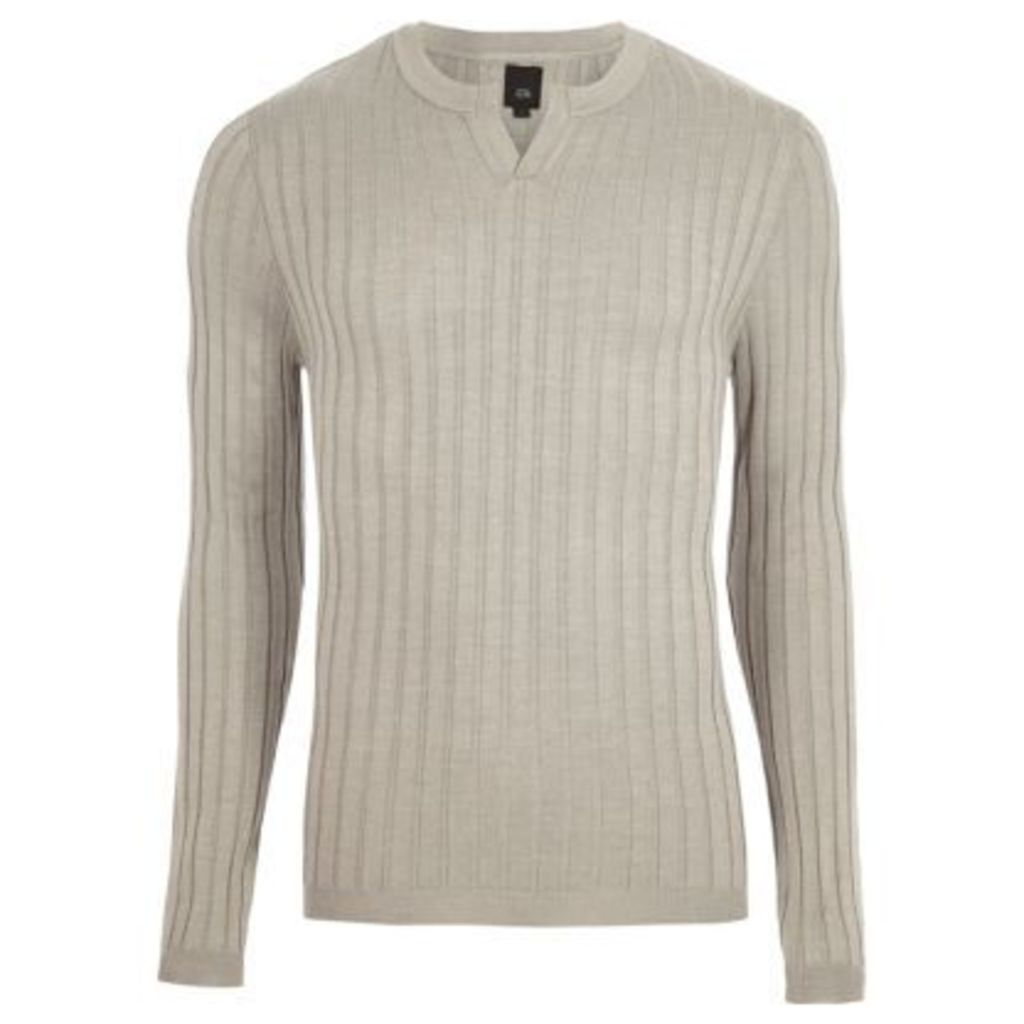 River Island Mens Grey ribbed notch neck long sleeve jumper