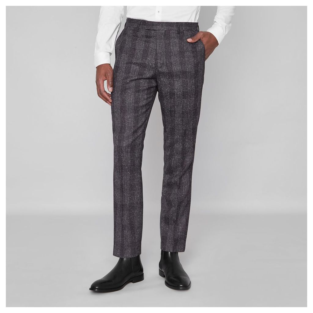 River Island Mens Grey check slim fit trousers