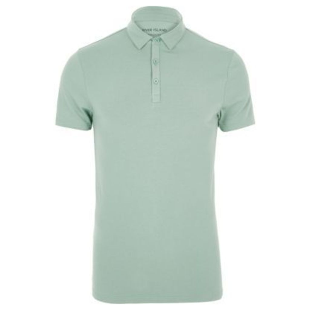 River Island Mens Light Green muscle fit polo shirt