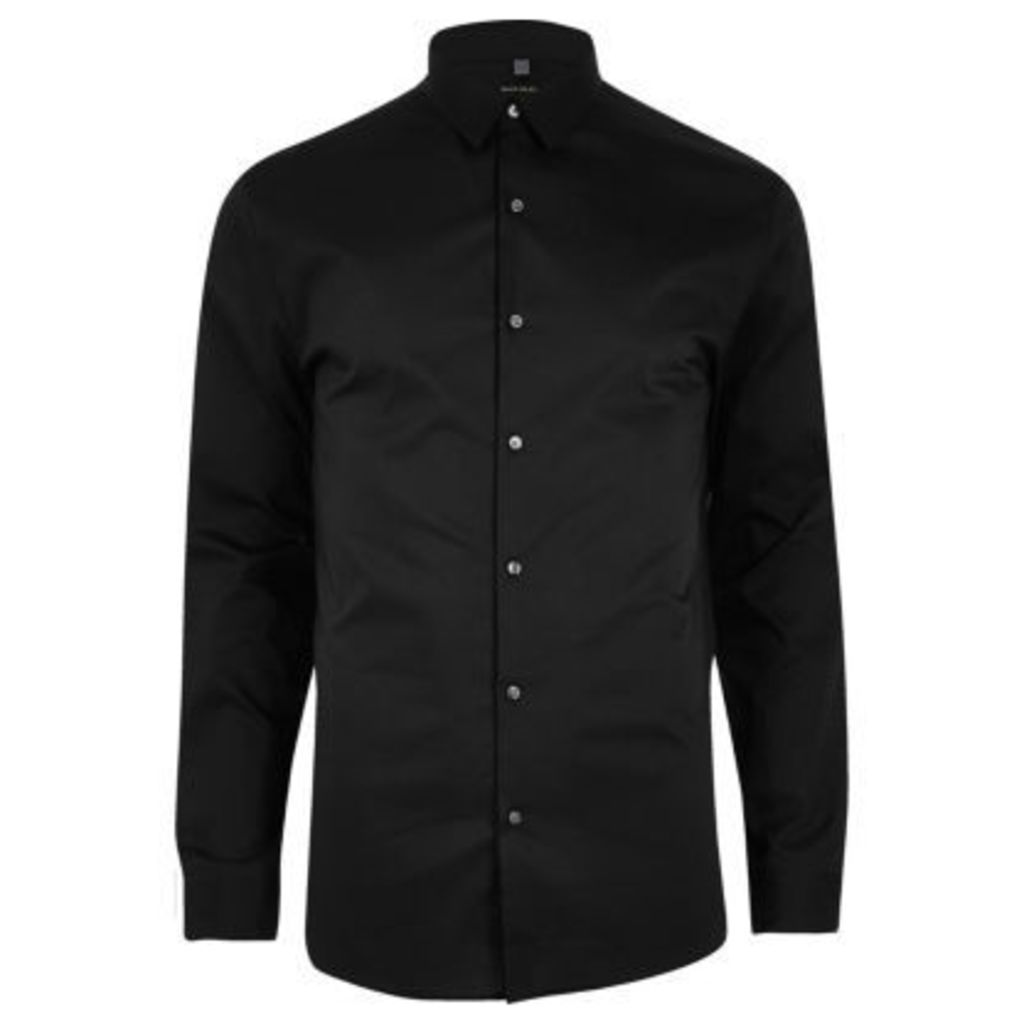 River Island Mens Black smart muscle fit shirt
