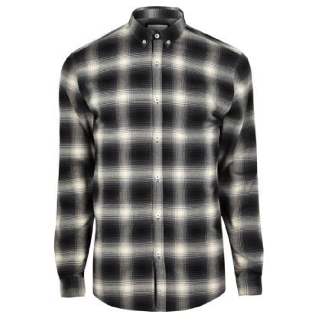 River Island Mens Black check muscle fit shirt