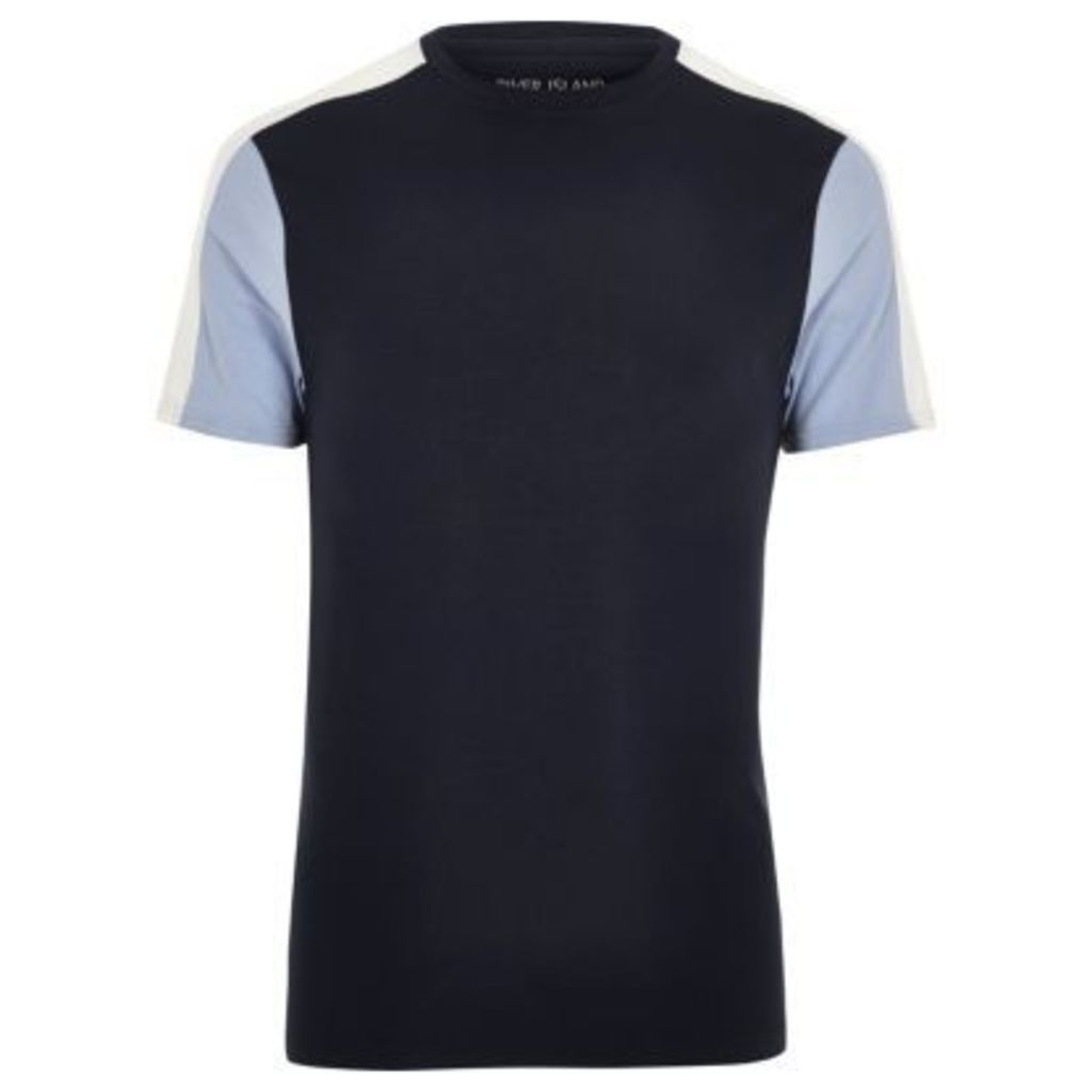 River Island Mens Navy colour block muscle fit T-shirt