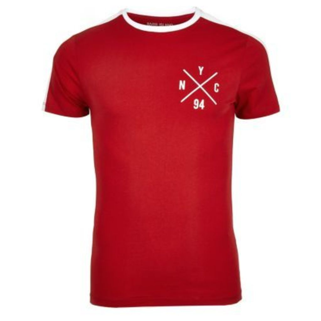 River Island Mens Red NYC logo muscle fit T-shirt