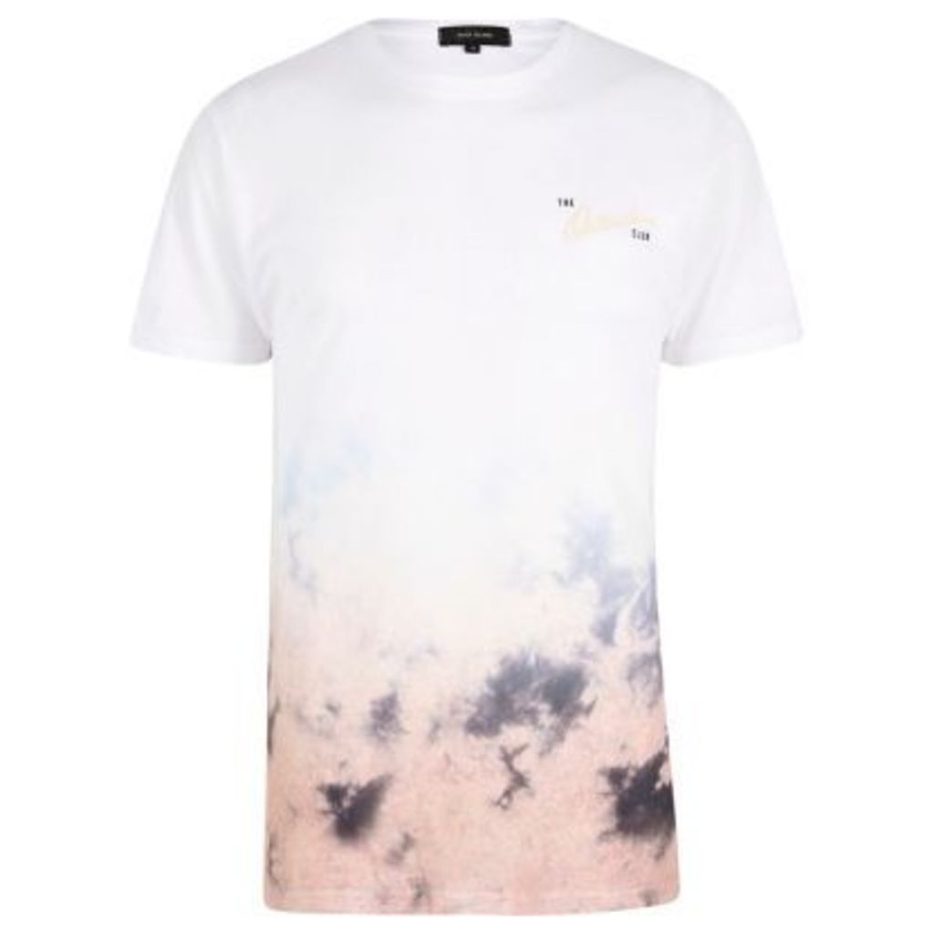 River Island Mens White and pink outsiders fade tie dye T-shir