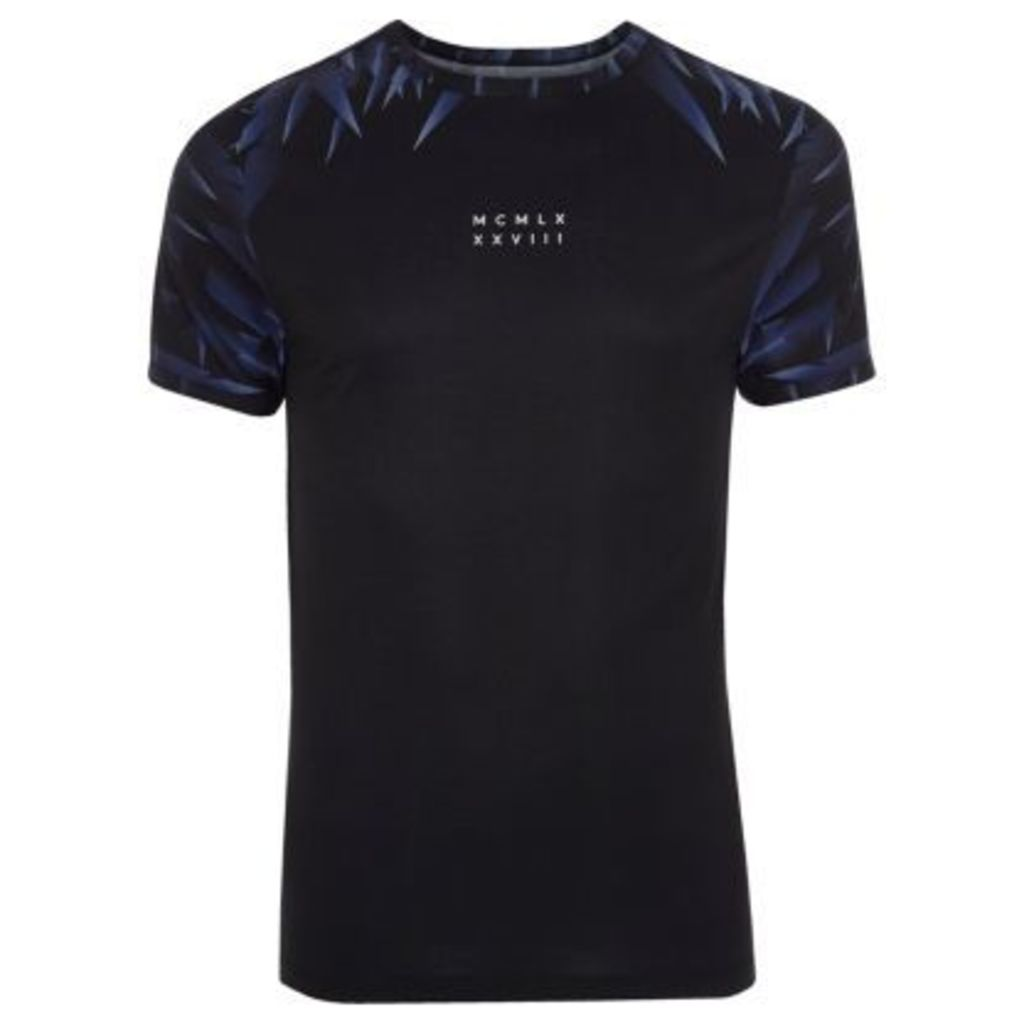 River Island Mens Black numerals print muscle fit T-shirt