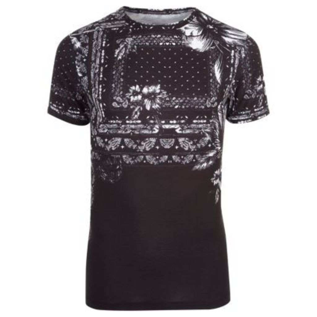 River Island Mens Black floral bandana print muscle fit T-shirt