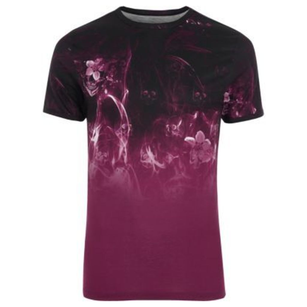 River Island Mens Black floral smoke print muscle fit T-shirt