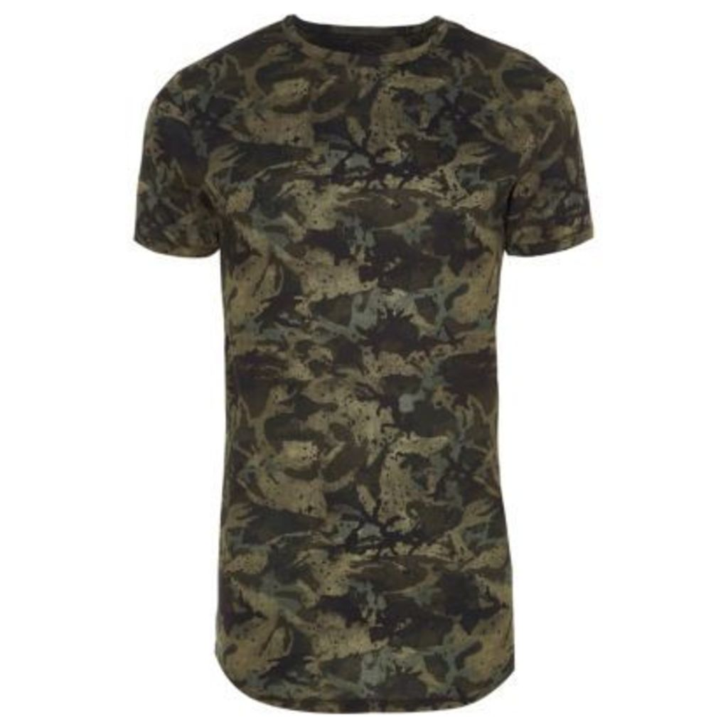 River Island Mens Green camo print muscle fit T-shirt