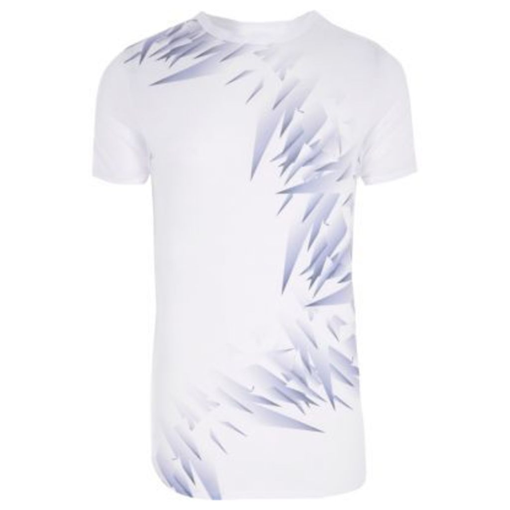 River Island Mens White shard print muscle fit T-shirt