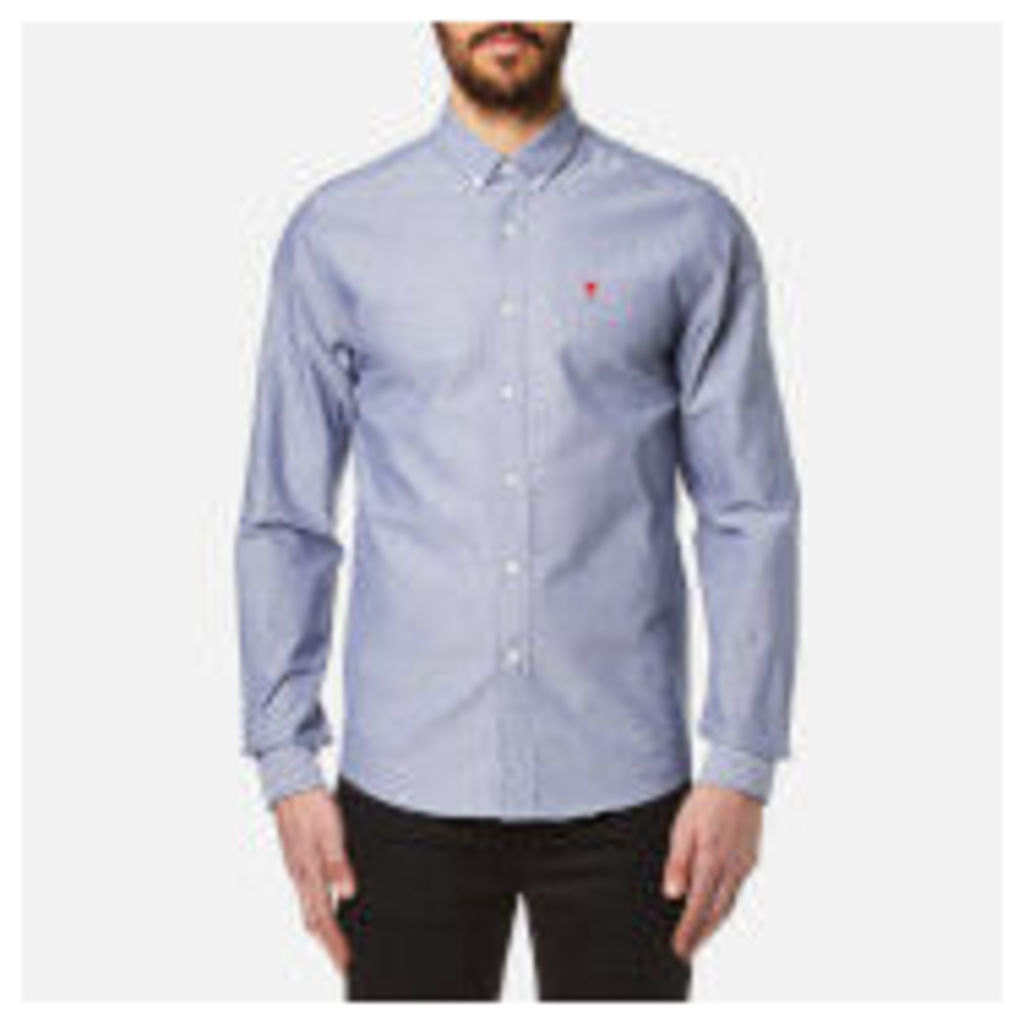 AMI Men's Heart Logo Oxford Shirt - Indigo - EU 41