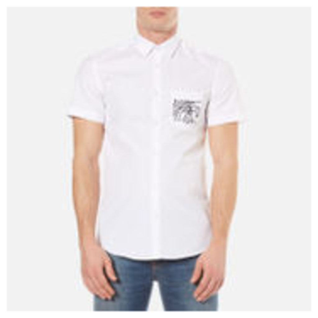 KENZO Men's Poplin Short Sleeve Shirt - White - 16 /L