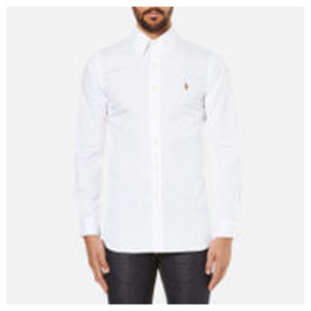 Polo Ralph Lauren Men's Custom Fit Button Down Pinpoint Oxford Shirt - White - 16 Inch