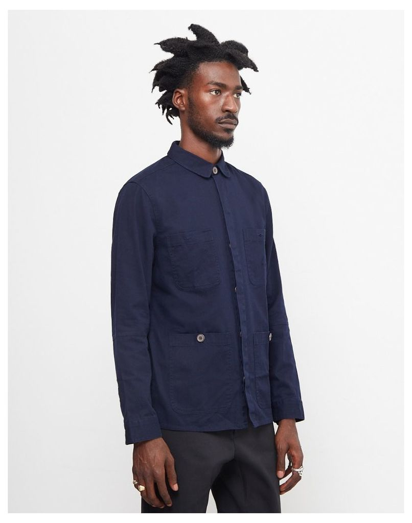 The Idle Man Cotton Twill 4 Pocket Jacket Navy
